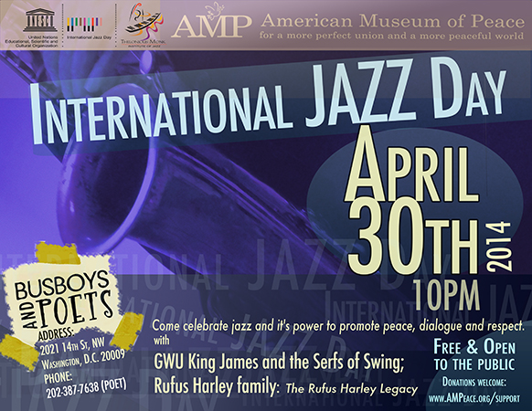 AMP's International Jazz Day - Washington, DC 2014 Concert Program Poster