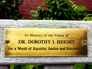 Tribute to Dorothy Height on bench at George Washington University, Washington, DC
