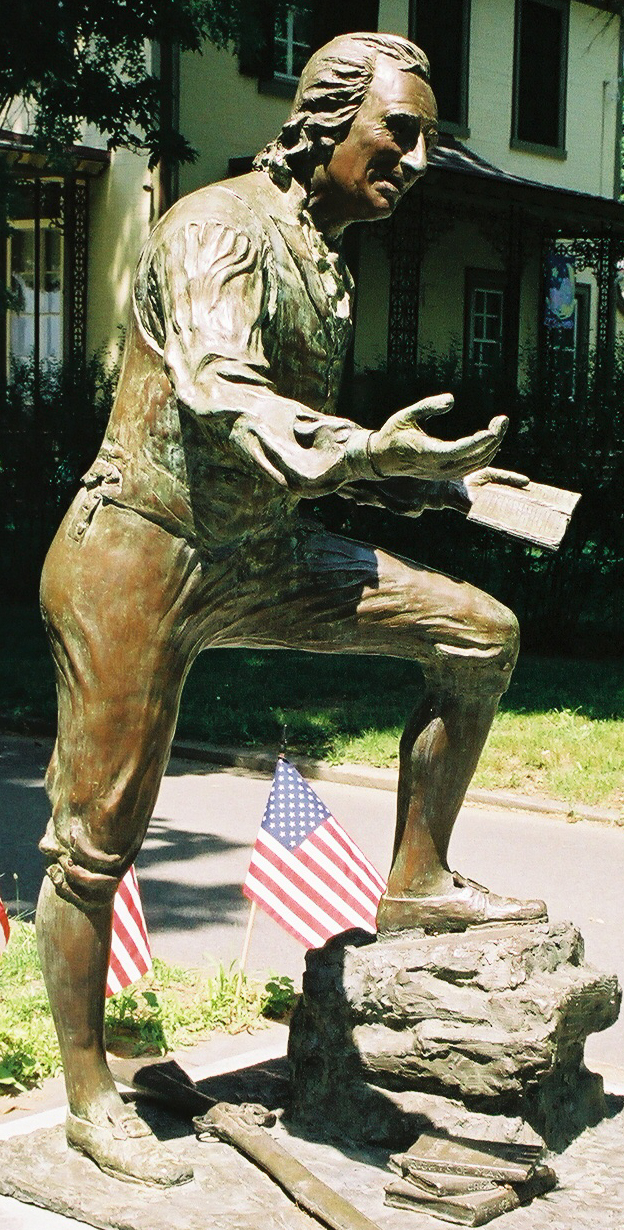 Thomas Paine, statue in Bordentown, NJ. Photo by by Elizabeth Davidson of the Express-Times, Easton, Pa. ;
