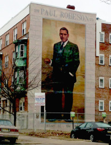 Paul Robeson Mural in Philadelphia, PA, on Chestnut Street, near 45th Street.