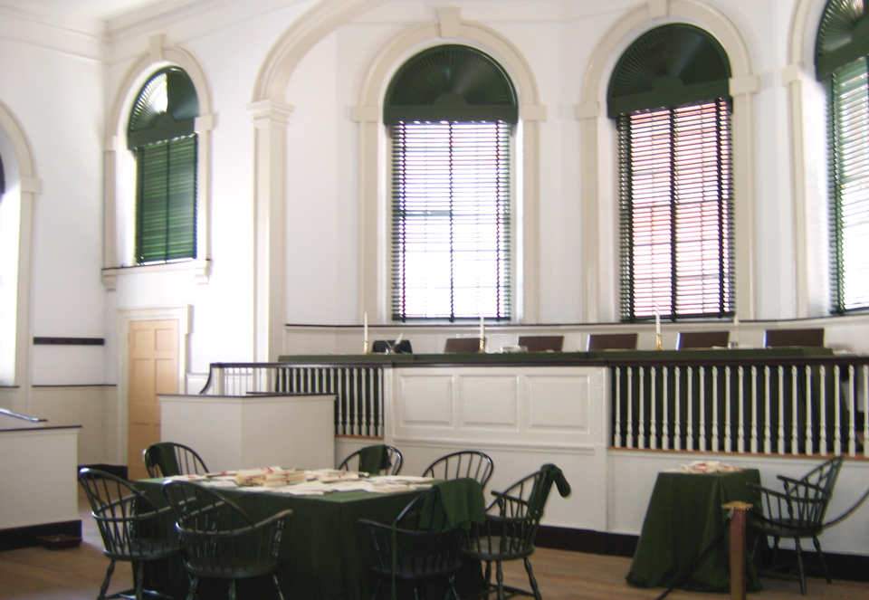 Photo of room in Independence Hall where the Declaration of Independence was signed and the U.S. Constitution was formed.