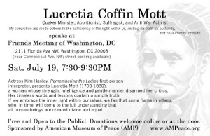 AMP's Lucretia Coffin Mott Program Flyer for Saturday, 19th event at Friends Meeting of Washington, DC