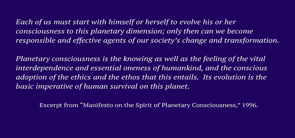 1996 Manifesto of the Spirit of Planetary Consciousness